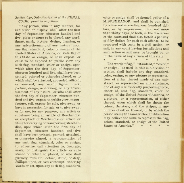 Desecration of the United States Flag. Extracts from the New York State Penal Law regarding offences against the flag