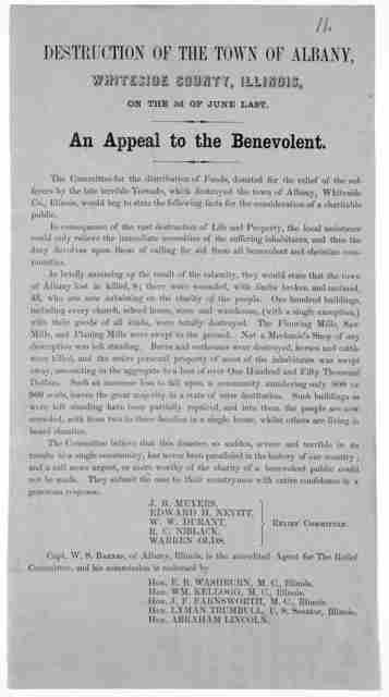 Destruction of the town of Albany, Whitesie County, Illinois, on the 3d of June last. An appeal to the benevolent ... Capt. W.S. Barnes, of Albany, Illinois, is the accredited agent for the relief committee ...