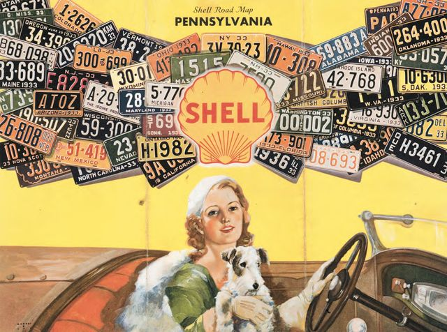 """[Detail from """"Shell road map: Pennsylvania"""" showing woman driving a car with license plates in the background]"""