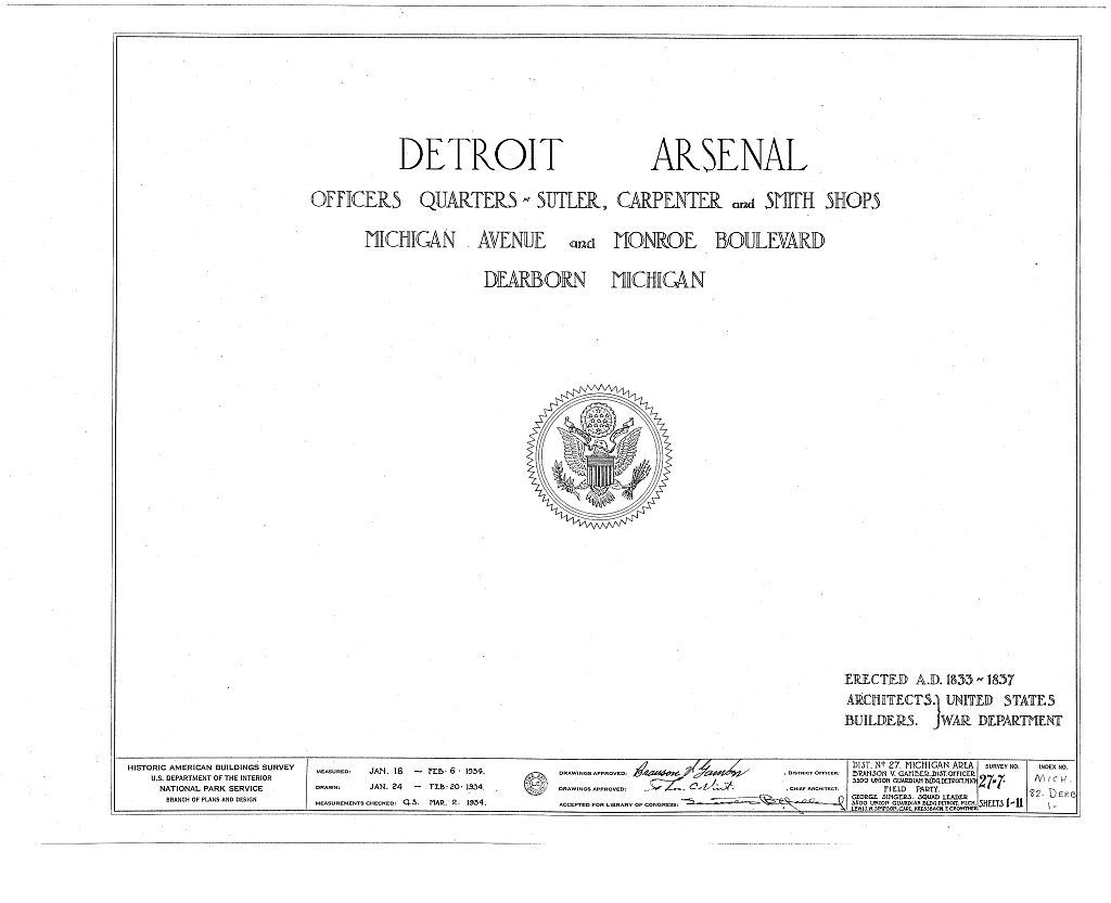 Detroit Arsenal, Michigan Avenue & Monroe Boulevard, Dearborn, Wayne County, MI