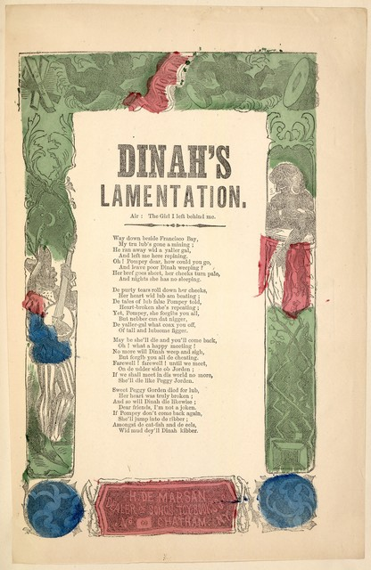 Dinah's lamentation. Air: The girl I left behind me. H. De Marsan, Publisher, No. 60 Chatham Street, N. Y