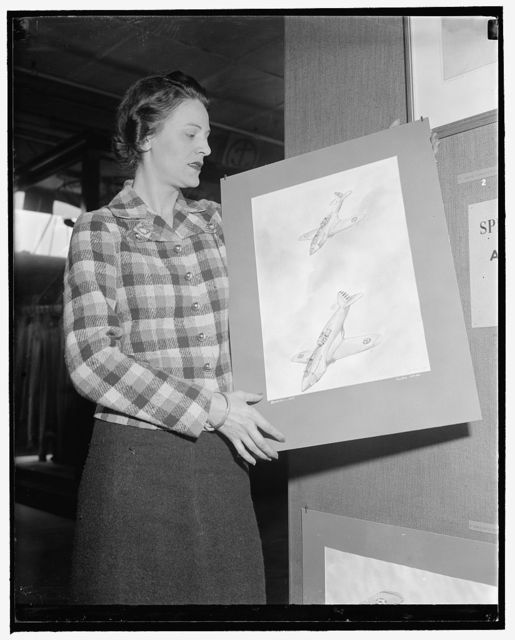 Displays aviation drawings at Smithsonian. Washington, D.C., May 4. Miss Olivia Bendelari, New York artist, is displaying in the aircraft building, Smithsonian Institution, this week a collection of watercolors done by her on airplanes in action. Flying is a hobby of the young artist, who is a student pilot