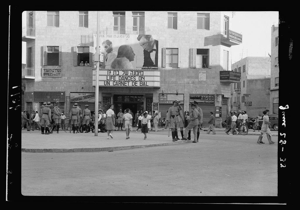 Disturbance. Police activities on Jaffa Road on eve of Slomo Ben Yuosef's [i.e., Shlomo Ben-Yosef's] hanging, June 28, '38
