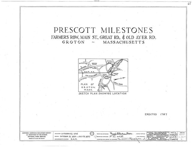 Doctor Oliver Prescott Milestones, Farmers Row & Main Street; Great Road & Old Ayer Road, Groton, Middlesex County, MA