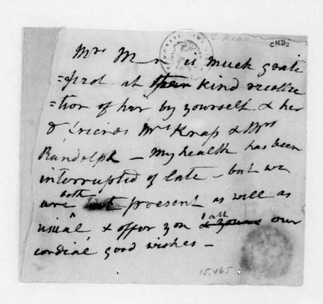 Dolley Payne Madison to Unknown.
