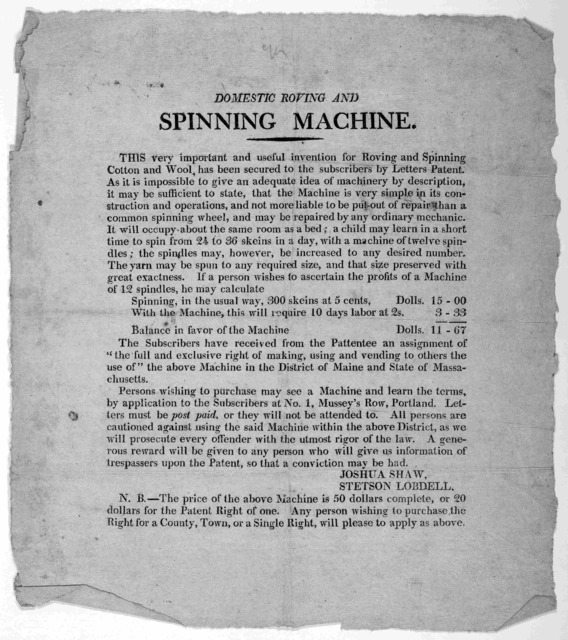 Domestic roving and spinning machine. This very important and useful invention for roving and spinning cotton and wool, has been secured to the subscribers by letters patent ... [n. d.]