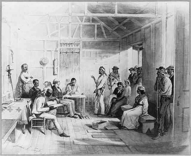[Dominican Republic, 1871: The wife of Salnave being tried before a Justice of the Peace for an assault in Samana City]