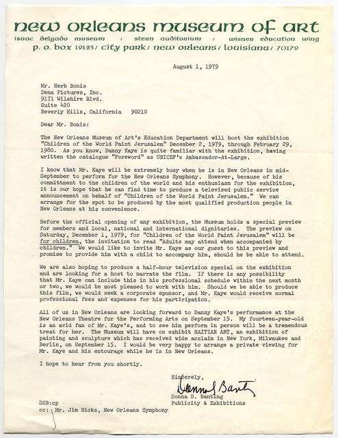 Donna S. Banting [Publicity & Exhibitions, New Orleans Museum of Art] to Herb Bonis, August 1, 1979