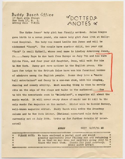 [' Dotted Notes' - Buddy Basch Associates, 6/27/51]