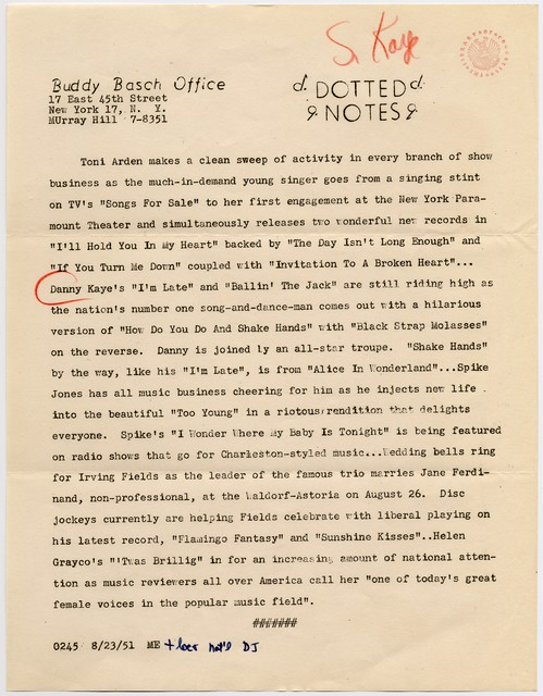 [' Dotted Notes' - Buddy Basch Office, 8/23/51]