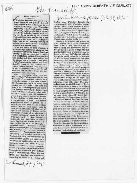 Douglass, Frederick (Death) - Folder 20 of 34
