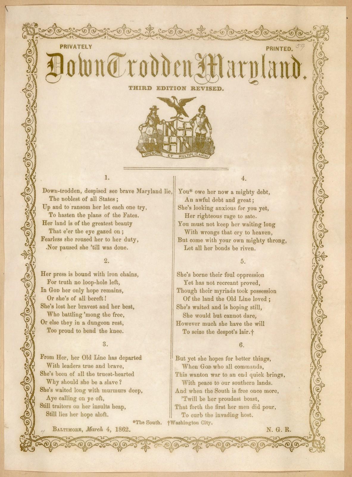 Down trodden Maryland. Third edition revised. Baltimore, March 4, 1862