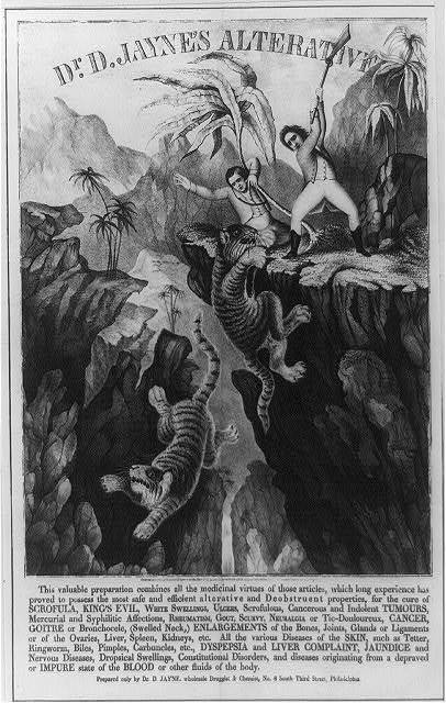 Dr. D. Jayne's alterative...[two hunters on a cliff, fighting tigers] c1845