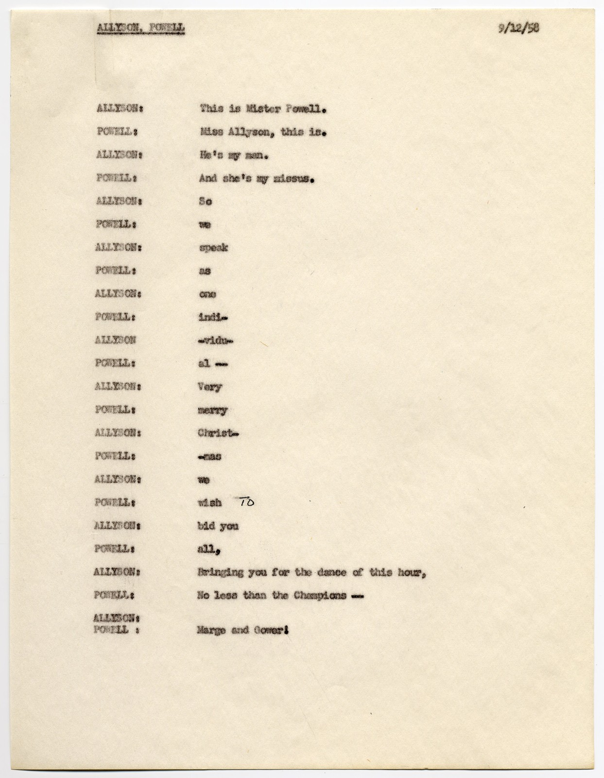 """[ Draft scripts for the 1958 """"USO Christmas Spectacular""""]"""