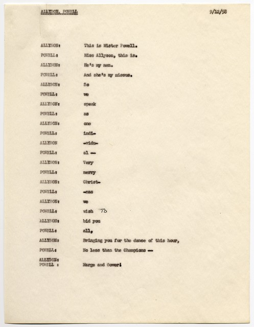 "[ Draft scripts for the 1958 ""USO Christmas Spectacular""]"