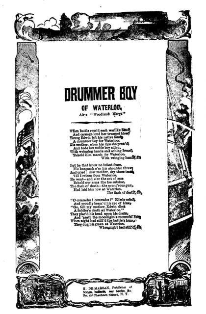 Drummer boy of Waterloo. Air: Woodland Mary. H. De Marsan, Publisher, No. 60 Chatham Street, N. Y
