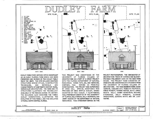 Dudley Farm, Farmhouse & Outbuildings, 18730 West Newberry Road, Newberry, Alachua County, FL