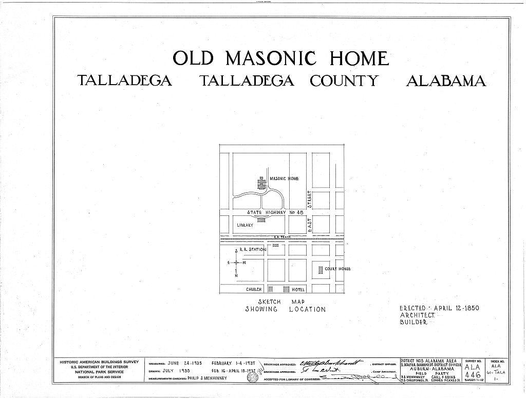 East Alabama Masonic Female Institute, 205 East South Street, Talladega, Talladega County, AL