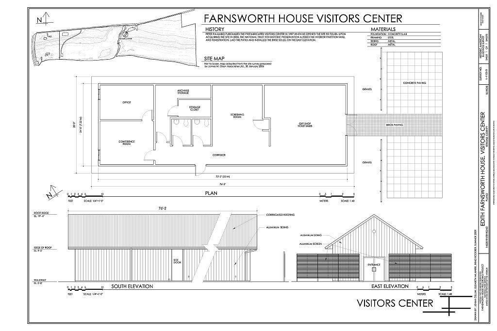 Edith Farnsworth House, Visitors Center, 14520 River Road, Plano, Kendall County, IL
