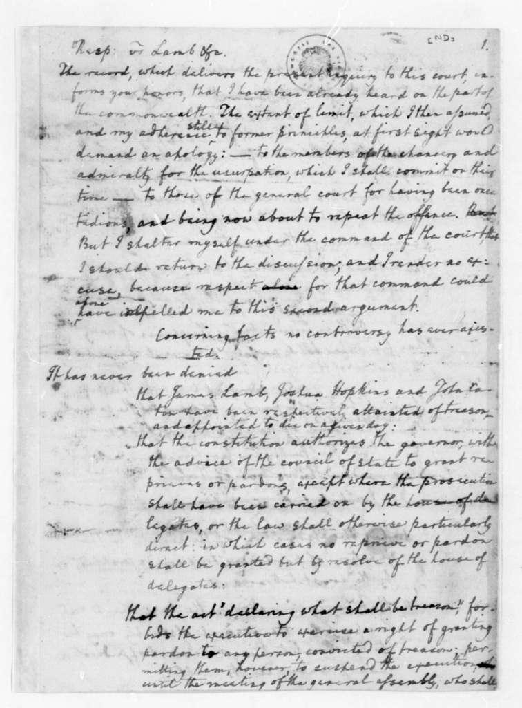 Edmund Randolph. Notes on Virginia laws. Includes pardons for traitors.