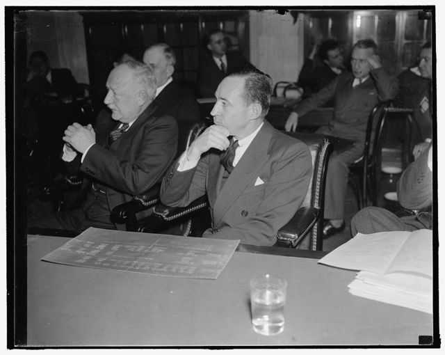 "Edsal [i.e. Edsel] Ford questioned at senate rail inquiry. Washington, D.C., Jan. 7. Edsel Ford, President of the Ford Motor Co., today told the Senate Rail Inquiry that the Fords sold the Detroit Toledo and Ironton Railroad in 1929 because of ""restrictions"" imposed by the Interstate Commerce Commission. The principal restriction was the ICC order that all railroads use heavy equipment. Ford urged that use of the light-weight equipment would be a good thing generally for railroads, 1/7/38"