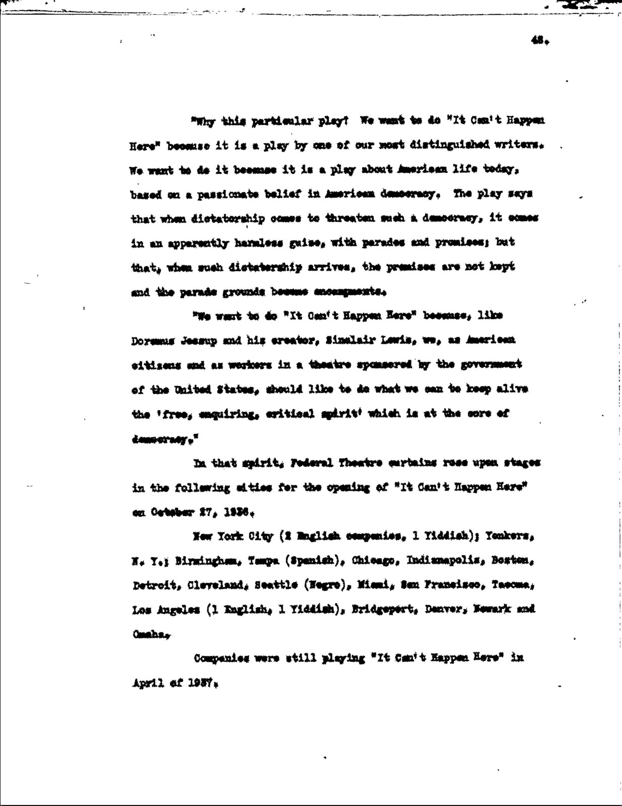 Educational Aspects of the Federal Theatre Project, copy 1