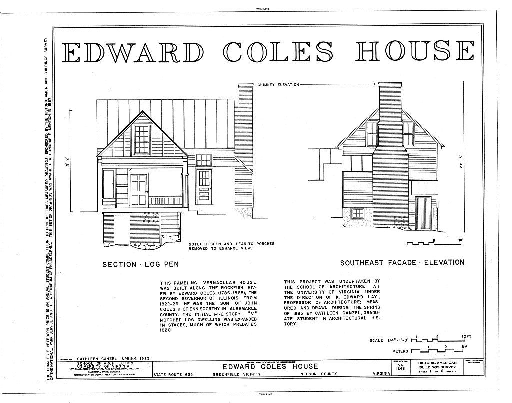 Edward Coles House, State Route 635, Greenfield, Nelson County, VA