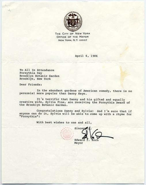 Edward I. Koch, Mayor of New York, To All in Attendance, Forsythia Day, Brooklyn Botanic Garden, April 6, 1986