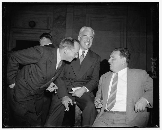 Edward R. Stettinius, Jr., Chairman of U.S. Steel. Isador Lubin, left, Commissioner of Labor Statistics. Leon Henderson, right, new S.E.C. Commissioner