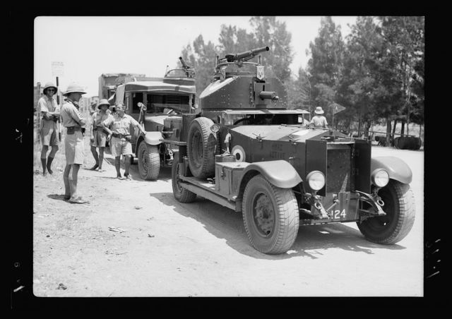 Eleventh Huzars arriving at Ludd. Armoured car ready to take to road