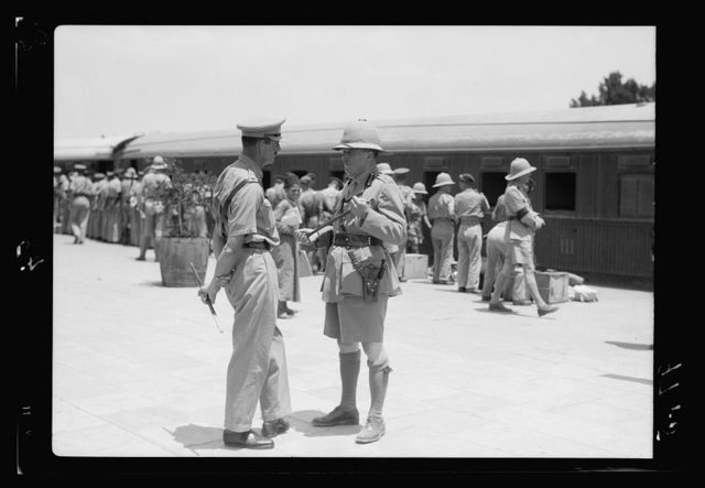 Eleventh Huzars arriving at Ludd. Eleventh Huzars detraining at the Lydda junction on their arrival from Egypt. Lt. General R.H. Haining, Commander in Chief, British Forces in Palestine & Transjor[dan]