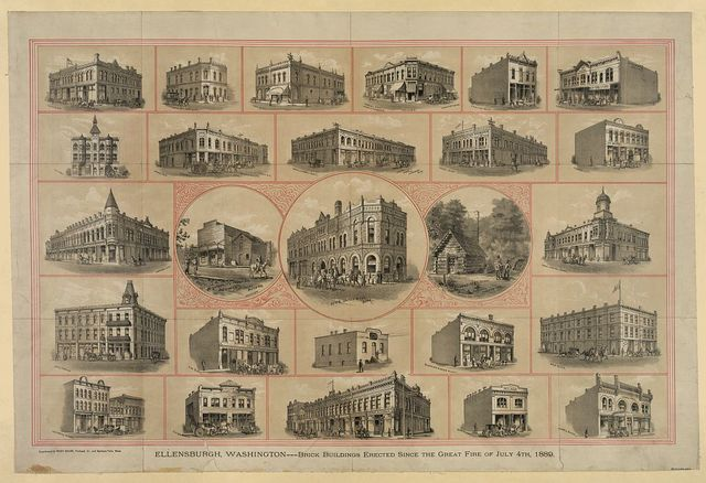 Ellensburg, Washington---brick buildings erected since the Great Fire of July 4th, 1889