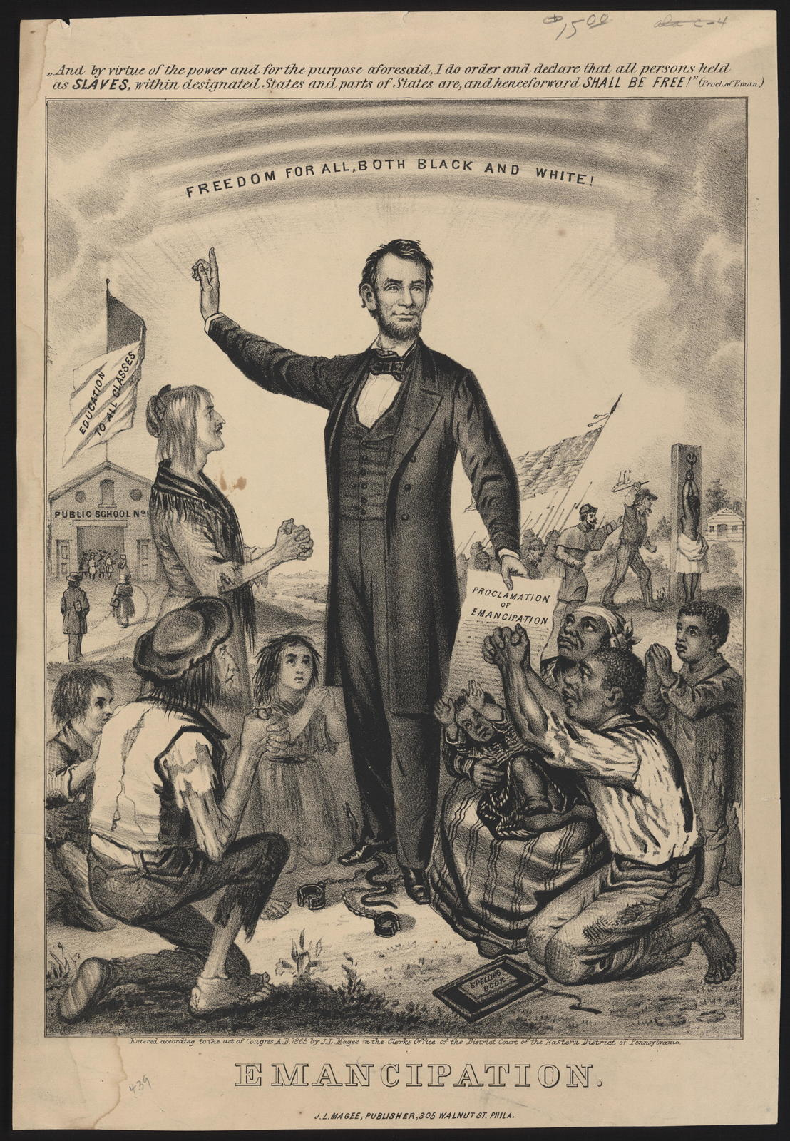 Emancipation. And by virtue of the power and for the purpose aforesaid, I do order and declare that all persons held as slaves, within designated states and parts of States are, and henceforeward [sic] shall be free! [J. L. Magee copy of the Emancipation Proclamation.]