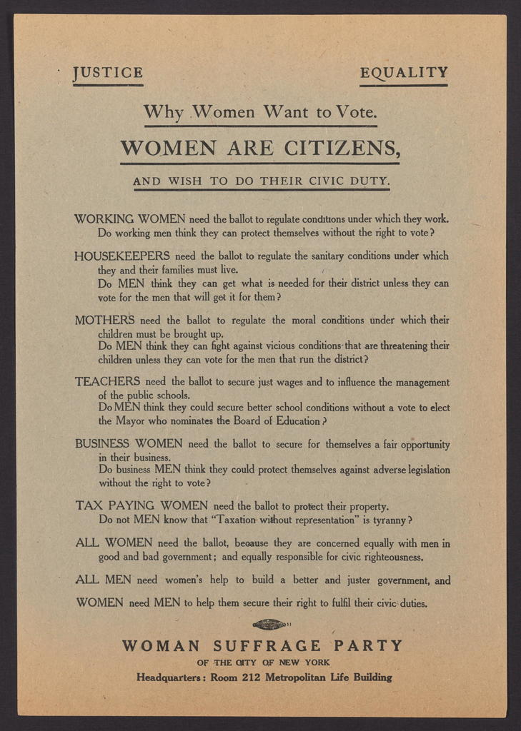Enclosure: Fliers supporting women's suffrage