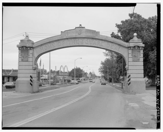 Endicott-Johnson Workers Arch, Approximately 250' east of intersection of Bridge Street & Route 17c/Main Street, Endicott, Broome County, NY