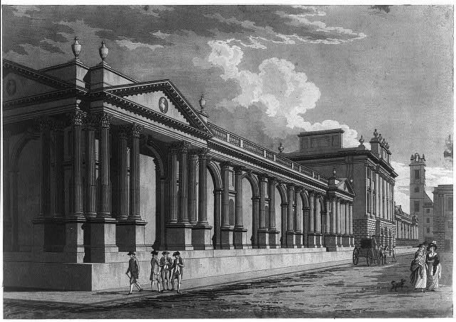 England. Principal front, Bank of England as designed by Sir Robert Taylor ca. 1790