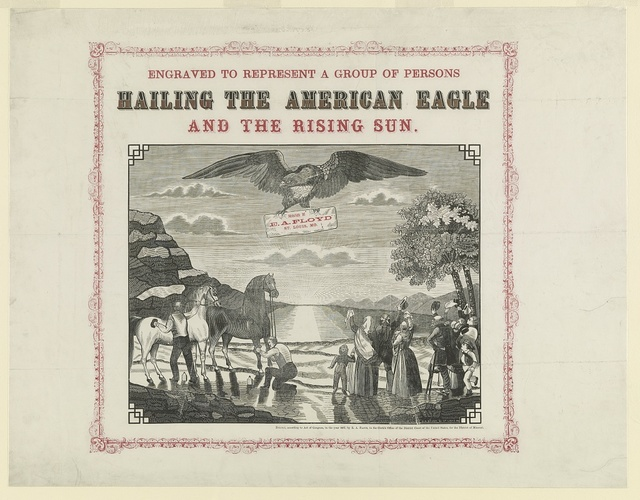 Engraved to represent a group of persons hailing the American eagle and the rising sun