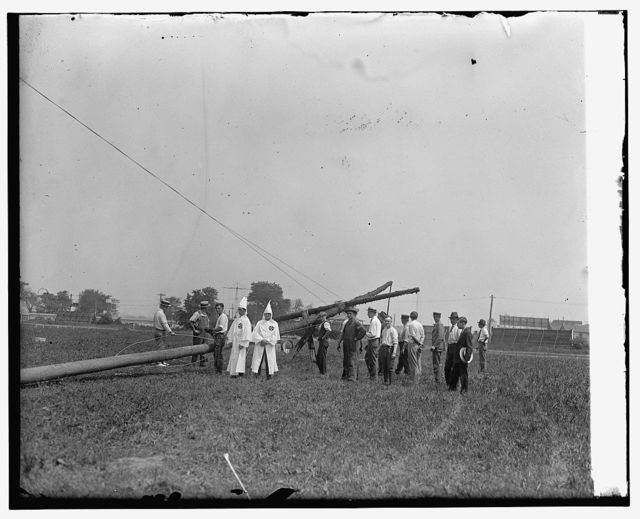 Erection of 80 ft. cross, Arlington horse show grounds, 8/8/25