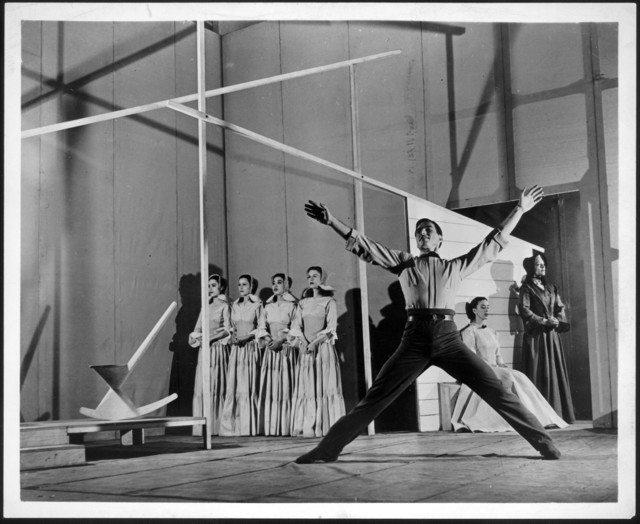 Erick Hawkins in the first production of Appalachian Spring. In the background, left to right: the four Followers, Martha Graham, May O'Donnell, 1944