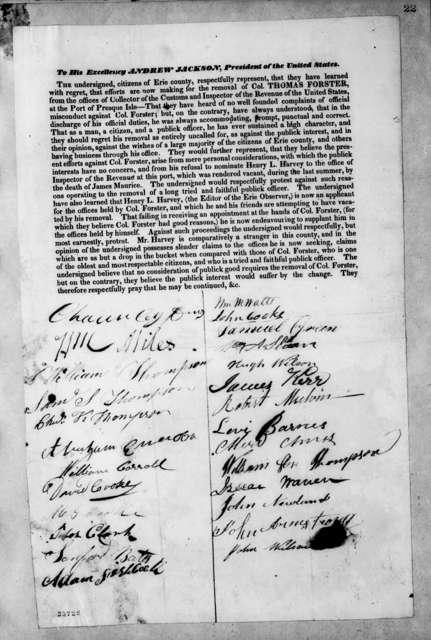 Erie County Democratic Citizens to Andrew Jackson
