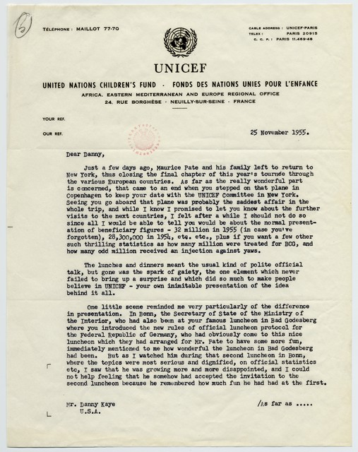 [ Ernest W. Meyer (UNICEF) to Danny Kaye, November 25, 1955]