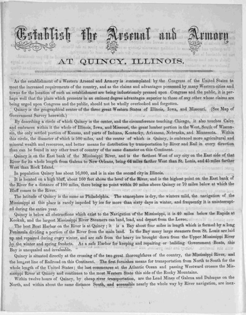 Establish the arsenal and armory at Quincy, Illinois. [n. d.].