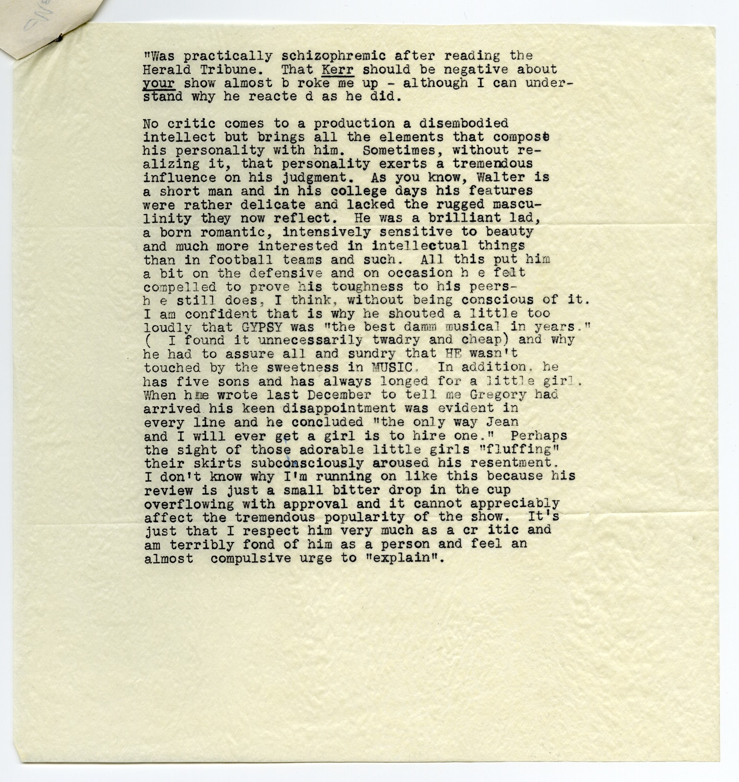 [ Excerpt of letter from Sr. Gregory to Mary Martin and Richard Halliday, undated, forwarded to Oscar Hammerstein II, November 25, 1959]