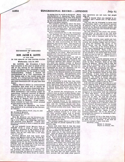 Extension of Remarks of Hon. Jacob K. Javits of New York in the Senate of the United States Wednesday, July 24, 1963