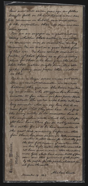 [Facsimile of Gettysburg address in Lincoln's hand on an envelope.]