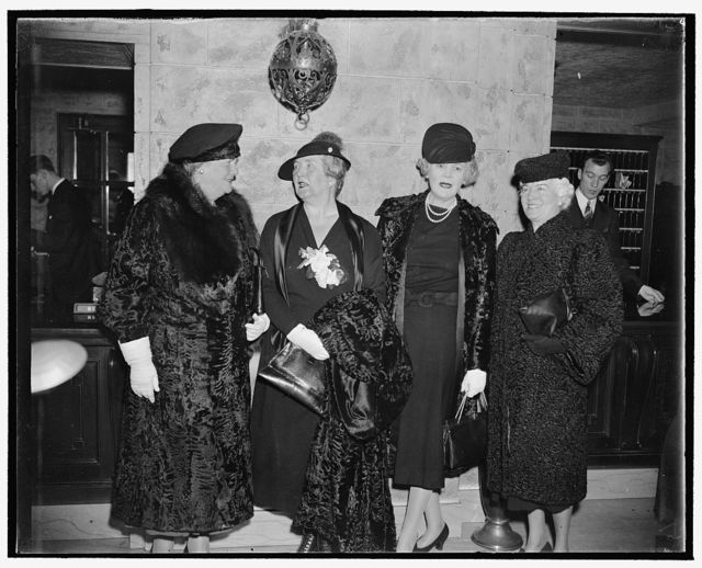 Fair sex grace republican national committee meeting. Washington, D.C., Nov. 29. Members of the fair sex were very much in evidence at today's meeting of the Republican National Committee at which the results of the recent election were carefully canvassed and plans outlined for the future. Here we see arriving, left to right - Mrs. Dolly Gann, sister of the late Vice President Charles Curtis - Princess Julia Cantacuzene, Washington, D.C., granddaughter of General Ulysses S. Grant - Mrs. Ruth Pratt, former Republican member of Congress from New York - Mrs. Ralph A. Harris, National Committeewoman from Kansas