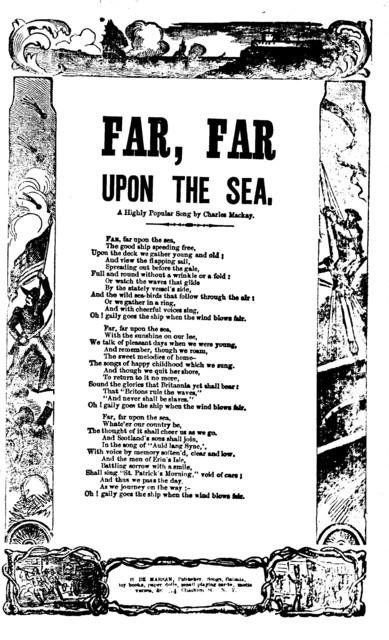 Far, far upon the sea. By Charles Mackay. H. De Marsan, Publisher. 54 Chatham Street, N. Y