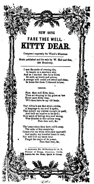 Fare thee well Kitty dear. J. Andrews, No. 38 Chatham St. N. Y