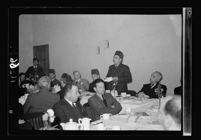 Farewell tea for Riji Bek, Egyptian Consul at the YMCA on Jan. 18, '41. Speech by Riji Bek