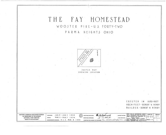 Fay Homestead, Wooster Pike, Parma Heights, Cuyahoga County, OH